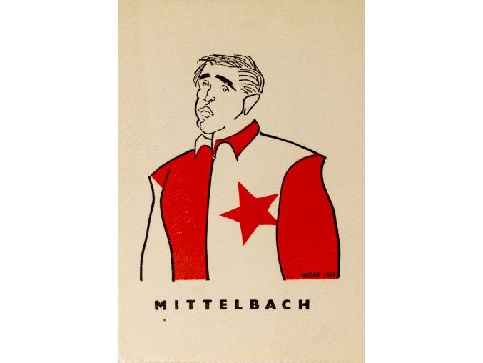 Karta 15 fotbalistů SLAVIE v karikaturách Haďáka, Mittelbach 1