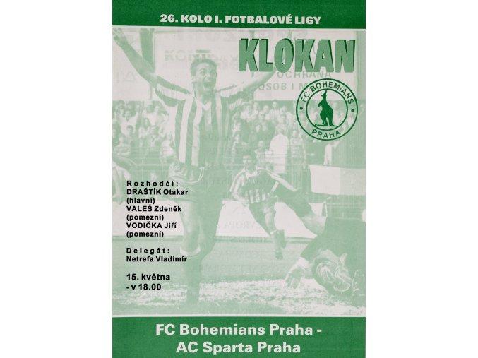 Program Klokan, S Bohemians vs. AC Sparta Praha,
