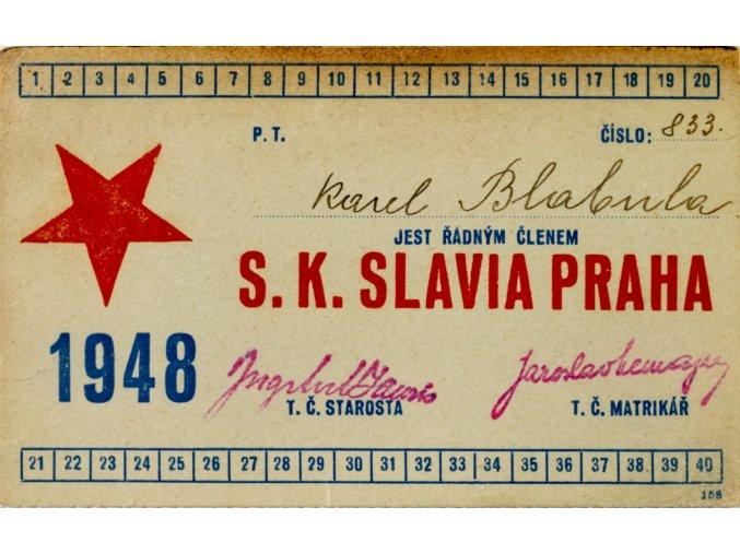 Legitimace P.T. klubu S.K.SLAVIA PRAHA z roku 1948 IV
