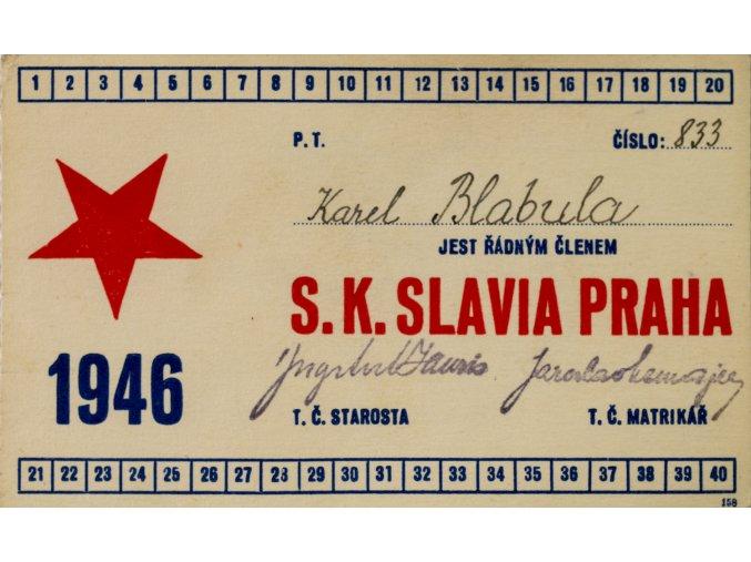 Legitimace P.T. klubu S.K.SLAVIA PRAHA z roku 1946 (1)