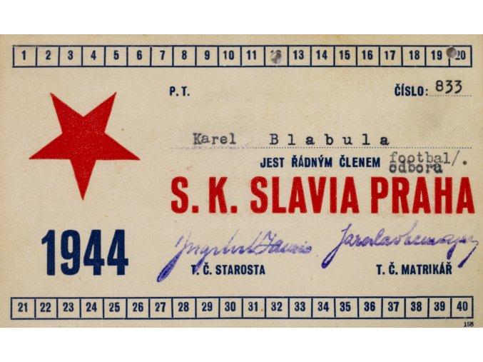Legitimace P.T. klubu S.K.SLAVIA PRAHA z roku 1944 III