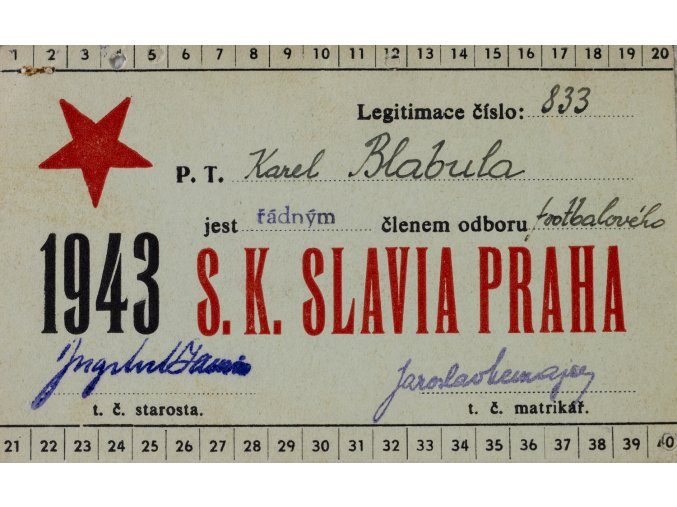 Legitimace P.T. klubu S.K.SLAVIA PRAHA z roku 1943 II