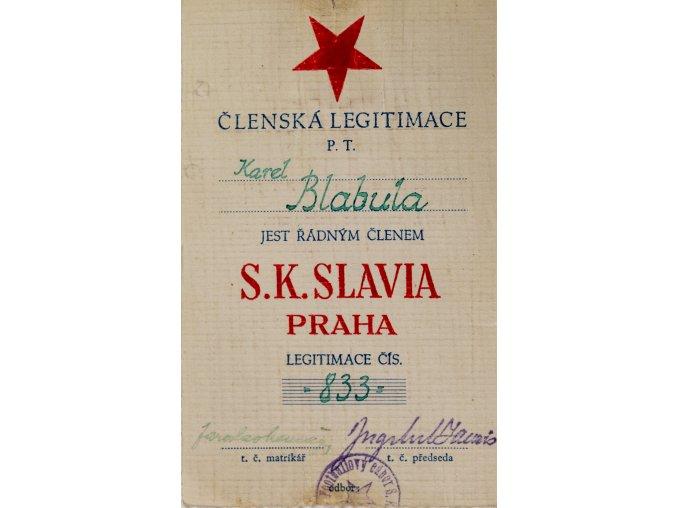 Členská legitimace P.T. klubu S.K.SLAVIA PRAHA z roku 1937 39 (1)