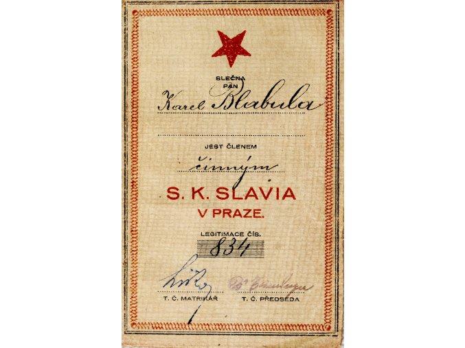Členská legitimace P.T. klubu S.K.SLAVIA PRAHA z roku 1925 27 (2)