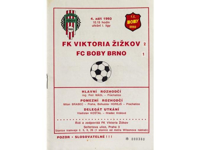 Program FK Viktoria Žižkov vs. FC Boby Brno, 1993