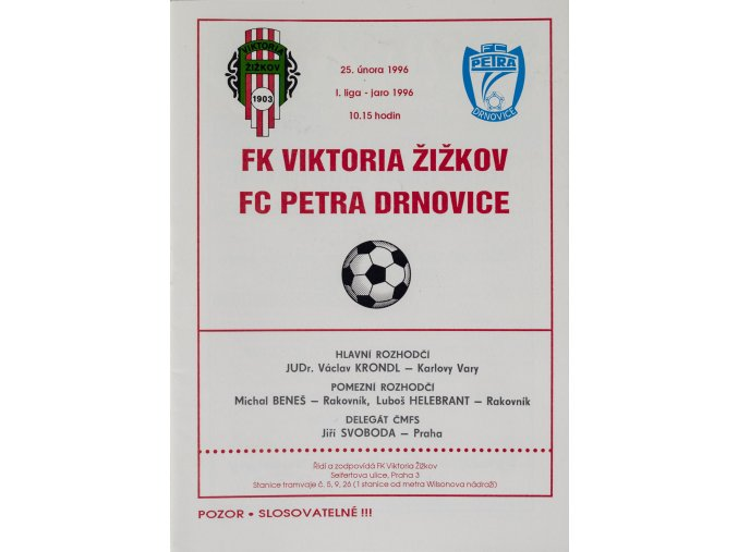 Program FK Viktoria Žižkov vs. FC Petra Drnovice, 1996
