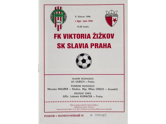 Program - FK Viktoria Žižkov vs. SK Slavia Praha, 1996