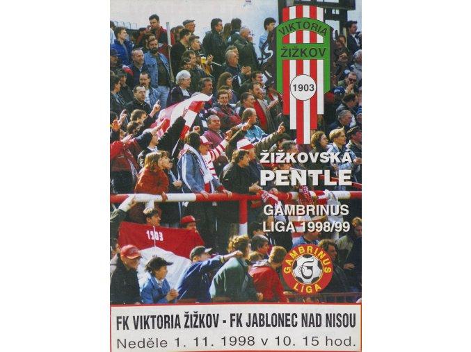 Program Žižkovská pentle, Žižkov vs. FK Jablonec nad Nisou, 1998