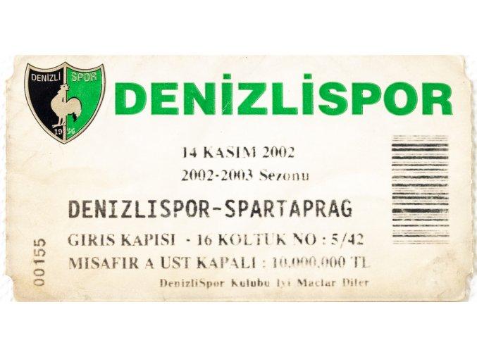 Vstupenka fotbal, Denizlispor Sparta Prag, 2002 (1)