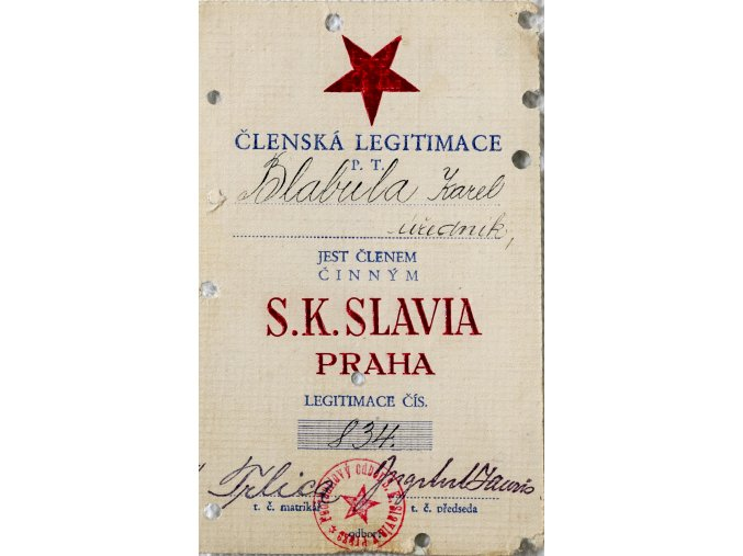 Členská legitimace P.T. klubu S.K.SLAVIA PRAHA z roku 1933 (1)