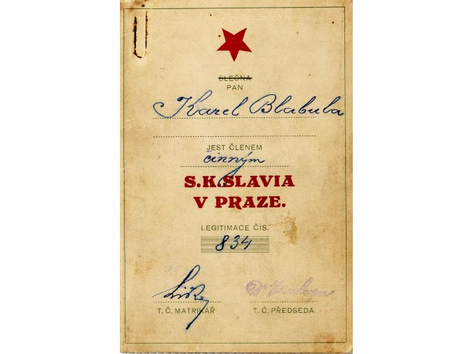 Členská legitimace P.T. klubu S.K.SLAVIA PRAHA z roku 1924 (1)