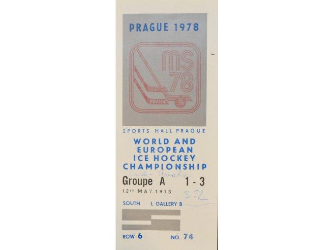 Vstupenka hokej Praha 1978 Groupe A 12. května 1978 sport antique cervec 17 (93)