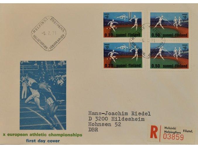 Obálka příležitost s razítkem hokej 1971 SUOMI sport antique cervec 17 (140)