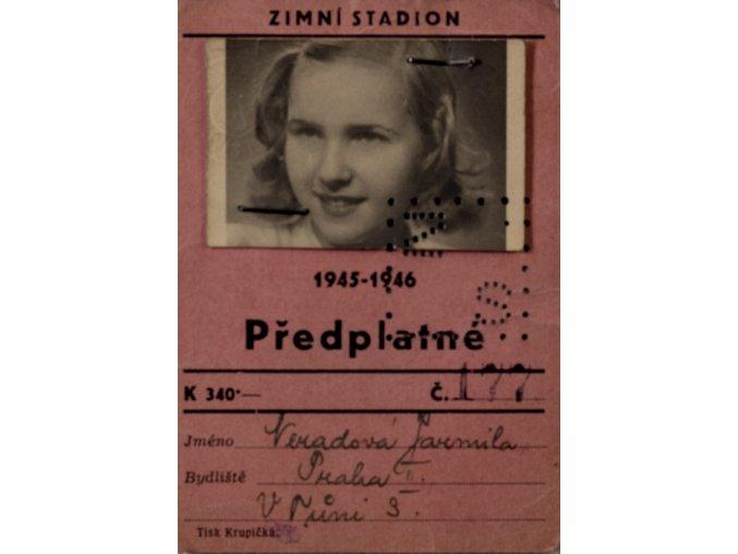 Průkaz , Předplatné zimní stadion, 1945 1946 (1)