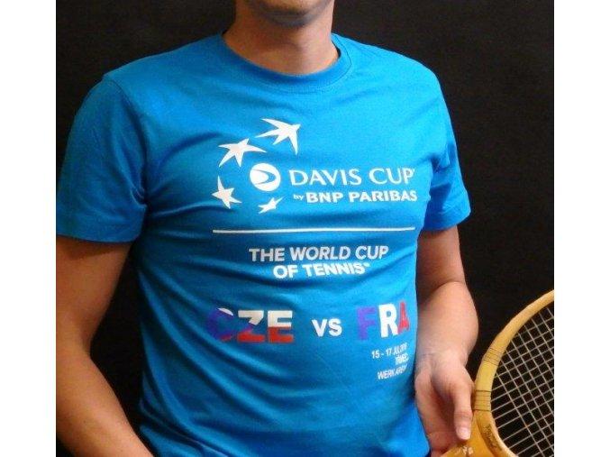 Dětské tričko modré Davis Cup 2016 ČR-FRA
