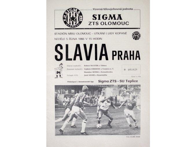 Program Sigma ZTS Olomouc v. Slavia Praha, 1986