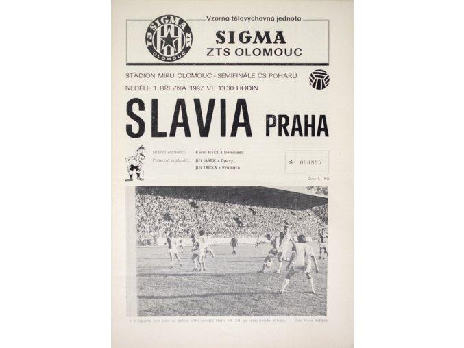 Program Sigma ZTS Olomouc v. Slavia Praha, 1987 II
