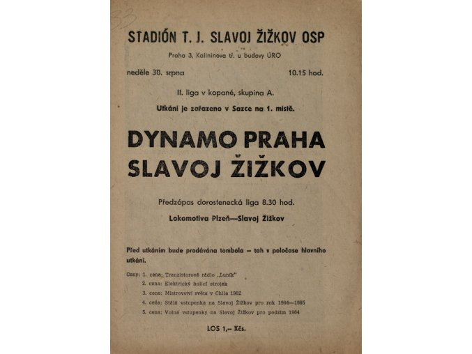 Program fotbal, Dynamo Praha v. Slavoj Žižkov, 1964 (2)