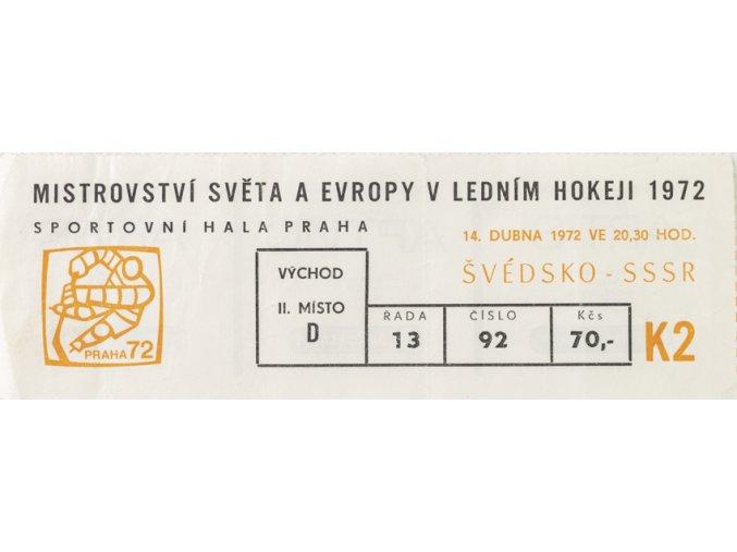 Vstupenka, MS hokej Praha, Švédsko v. SSSR, 1972 (1)