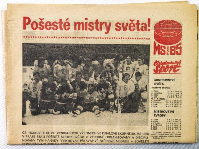 Noviny Československý sport, Pošesté Mistry světa, hokej, 1985