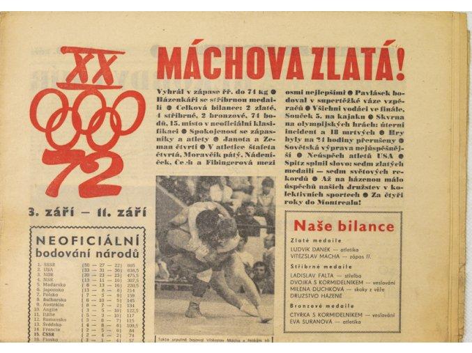 Noviny Československý sport, Máchova zlatá, OH Mnichov, 1972