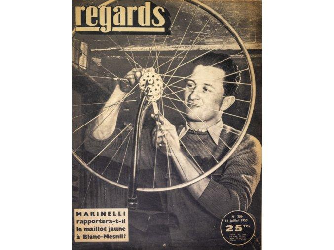 Noviny Regards, 1950, Marinelli rapportera t il la maillot jaune a Blanc Mesnil.