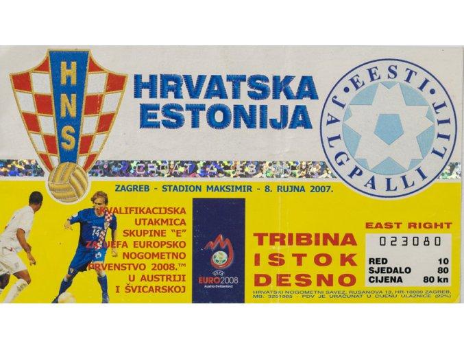 Vstupenka fotbal, Croatia v. Estonia, 2007