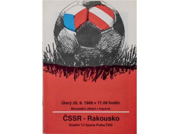 Program fotbal ČSSR vs. Rakousko, 1988