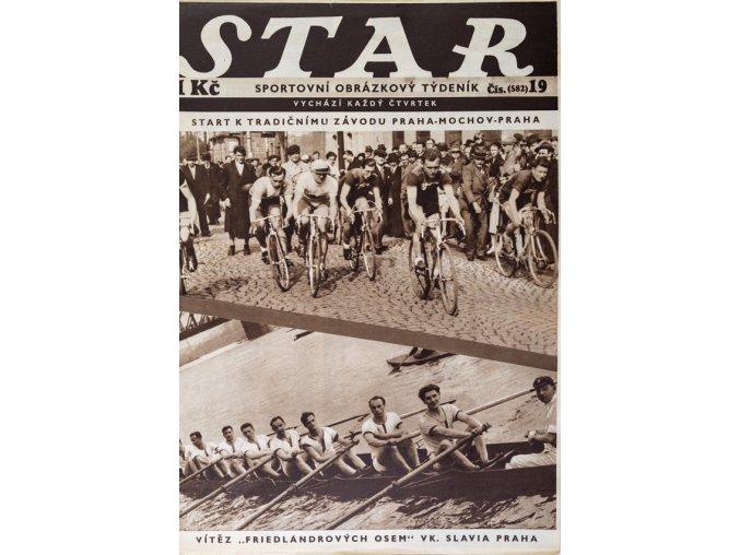 Časopis STAR, Hušek, vítěz Friedlandrových osem V.K. Slavia Praha Č. 19 (582), 1937