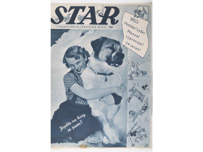 Časopis STAR, Hušek, Hockey! Lyže! Menzel vypravuje! 24 stran! Č. 50 (614), 1937