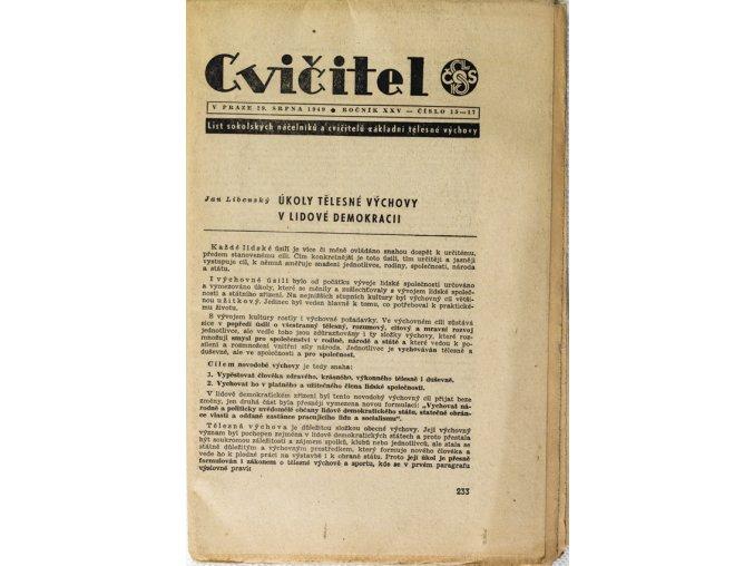 Sokol, Cvičitel, Ročník XXV, Číslo 23, 1949