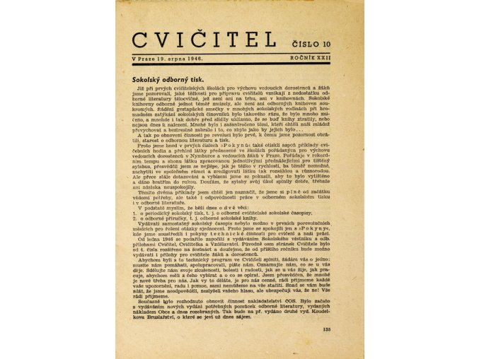 Sokol, Cvičitel, Ročník XXII, Číslo 10, 1946