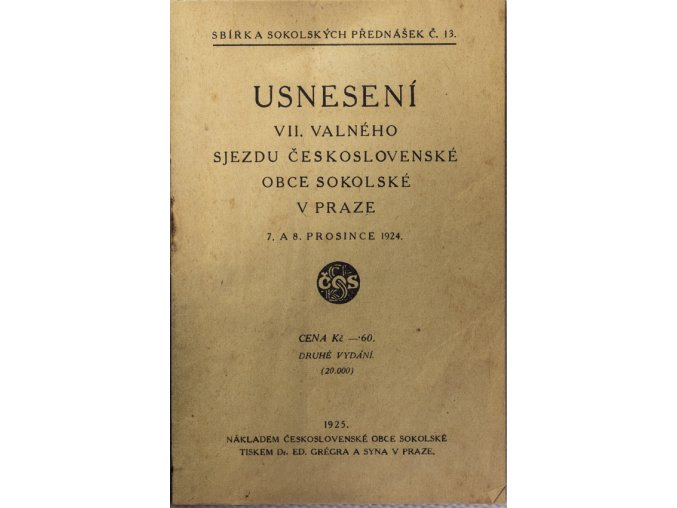 Sokol, Usnensení VII. valného sjezdu ČOS, 1924 (1)