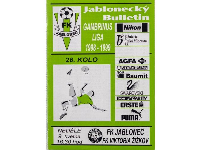 Program FK Jablonec v. Viktoria Žižkov, 1999