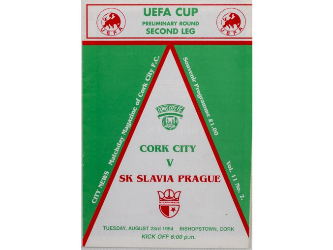 Program Cork City v SK Slavia Prague, 1994 (1)