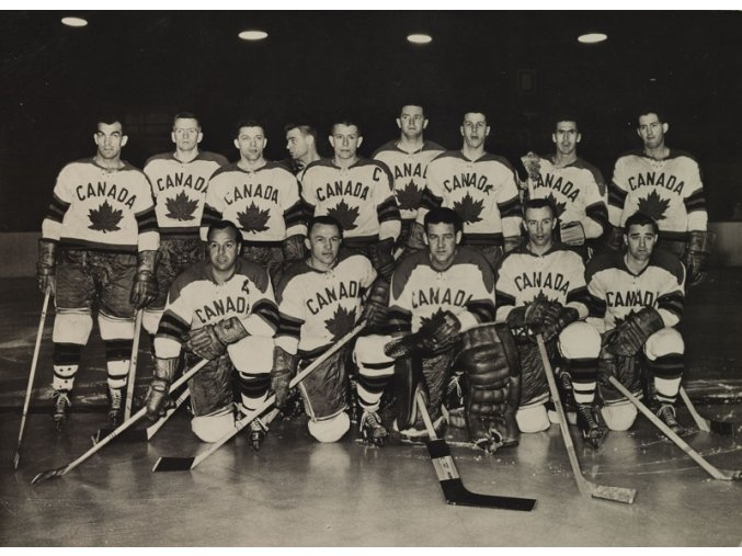 Reprezentační mužstvo CANADA MS v hokeji 1959 Československo