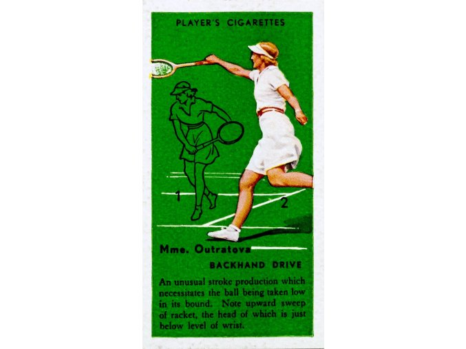 Tennis Backhand drive MME. Otratova Vintage Action Card