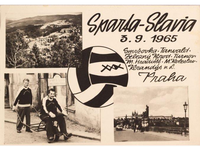 Pohlednice SPARTA - SLAVIA Smržovka Praha 3.9.1965