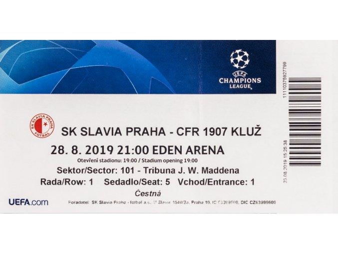 Vstupenka UEFA CHL, SK Slavia Praha v. CFR 1907 Kluž, 201920 (1)