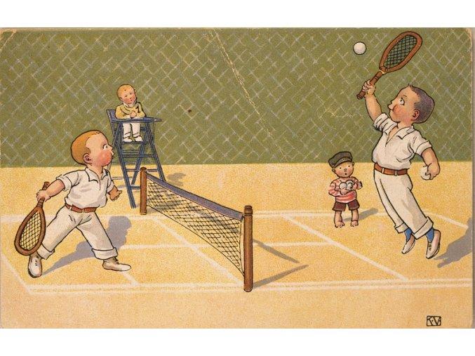 Pohlednice tenisté humorná