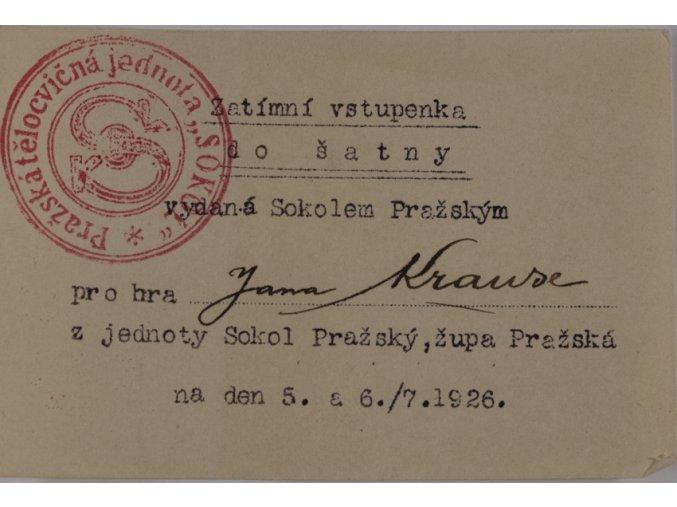Zatimní vstupenka do šatny vydaná Sokolem Pražským, 1926