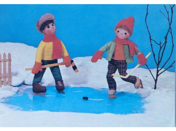 Pohlednice humorná LEDNÍ HOKEJ na rybníku