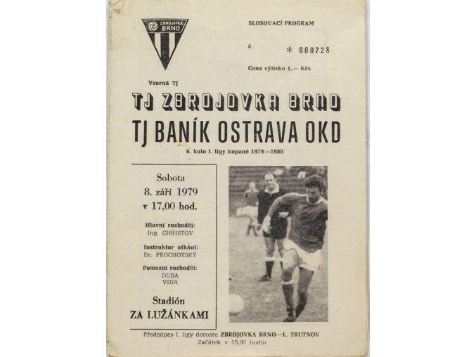 Program Zbrojovka Brno v. TJ Baník Ostrava, 1979
