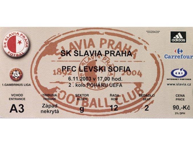 Vstupenka fotbal SK Slavia Prague vs. PFC Levski Sofia