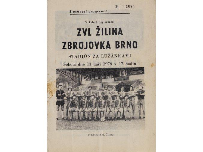 Program , ZVL Žilina v. Zbrojovka Brno , 1976