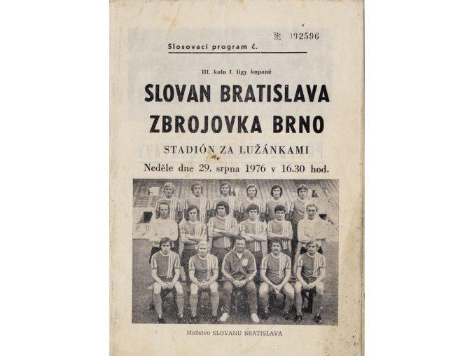 Program Slovan Bratislava v. TJ Baník Ostrava, 1976