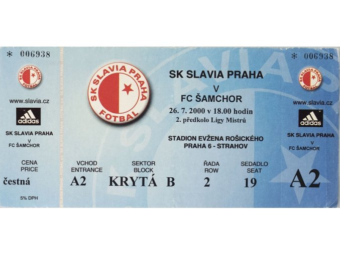 Vstupenka fotbal SK Slavia Prague vs. FC Šamchor
