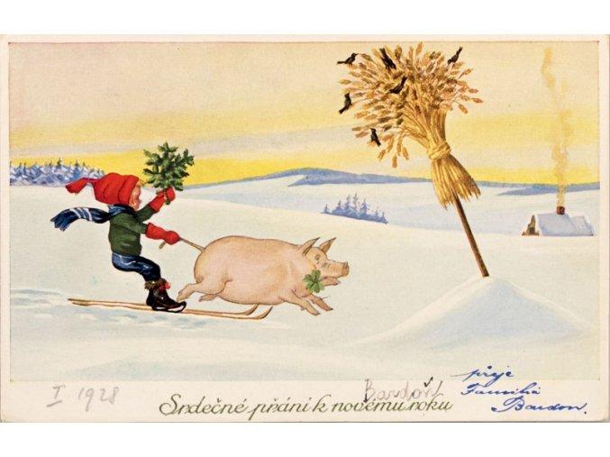 Lyžař s prasátkem Srdečné přání k novému roku