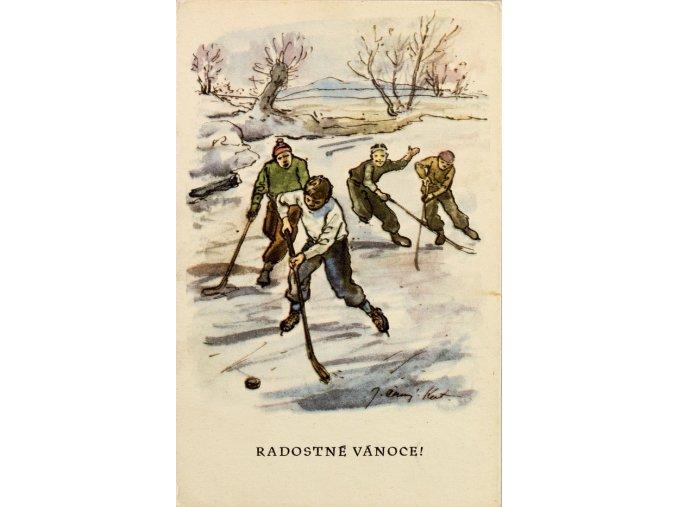 Hokejisti na rybníku Radostné vánoce