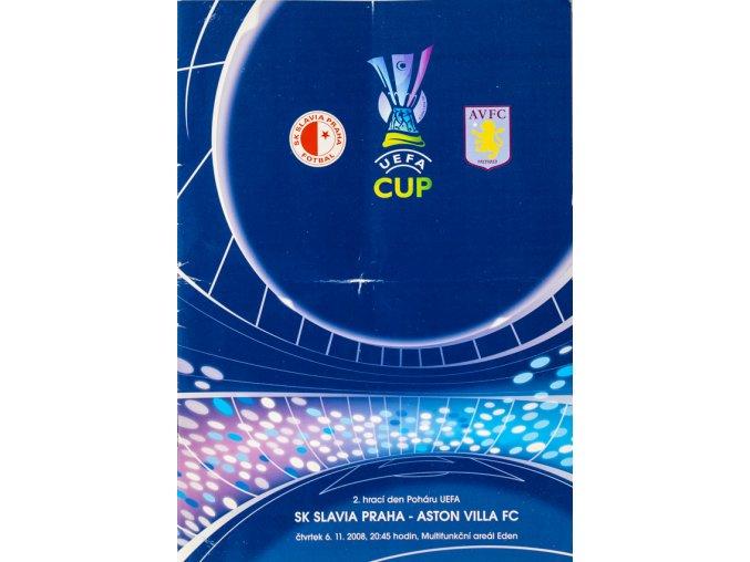 Program UEFA CUP SLAVIA vs. Aston Villa FC, 2008